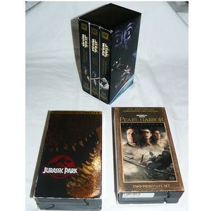 Lot 3 VHS Boxset Movies STAR WARS Jurassic Park